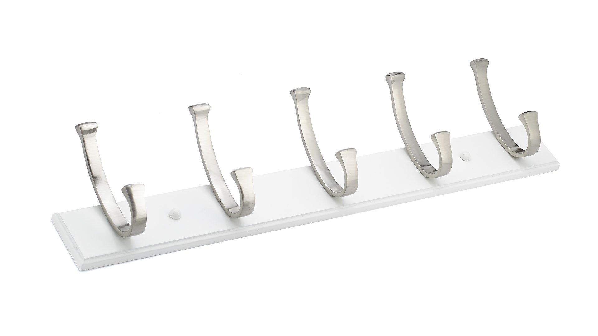 Richelieu RH111211530195 Contemporary Hook Rack, Brushed Nickel/White Finish