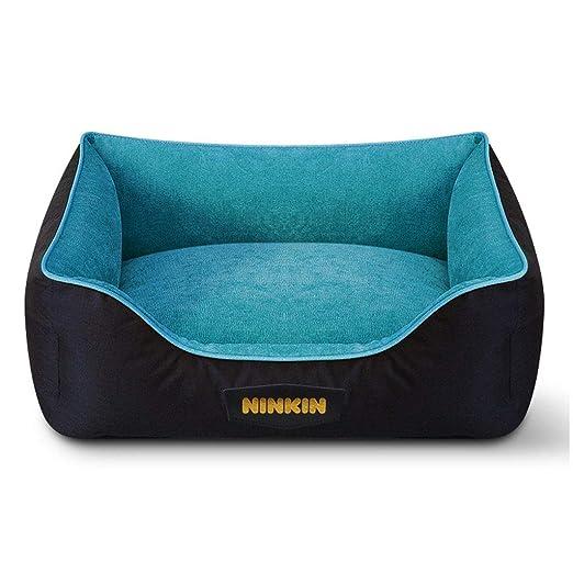 JM- Sofá Cama para Mascotas: colchón de Espuma de Memoria para Perros, Gatos o Cachorros Cómodo sofá para Mascotas con Funda extraíble Lavable (Color : Azul ...