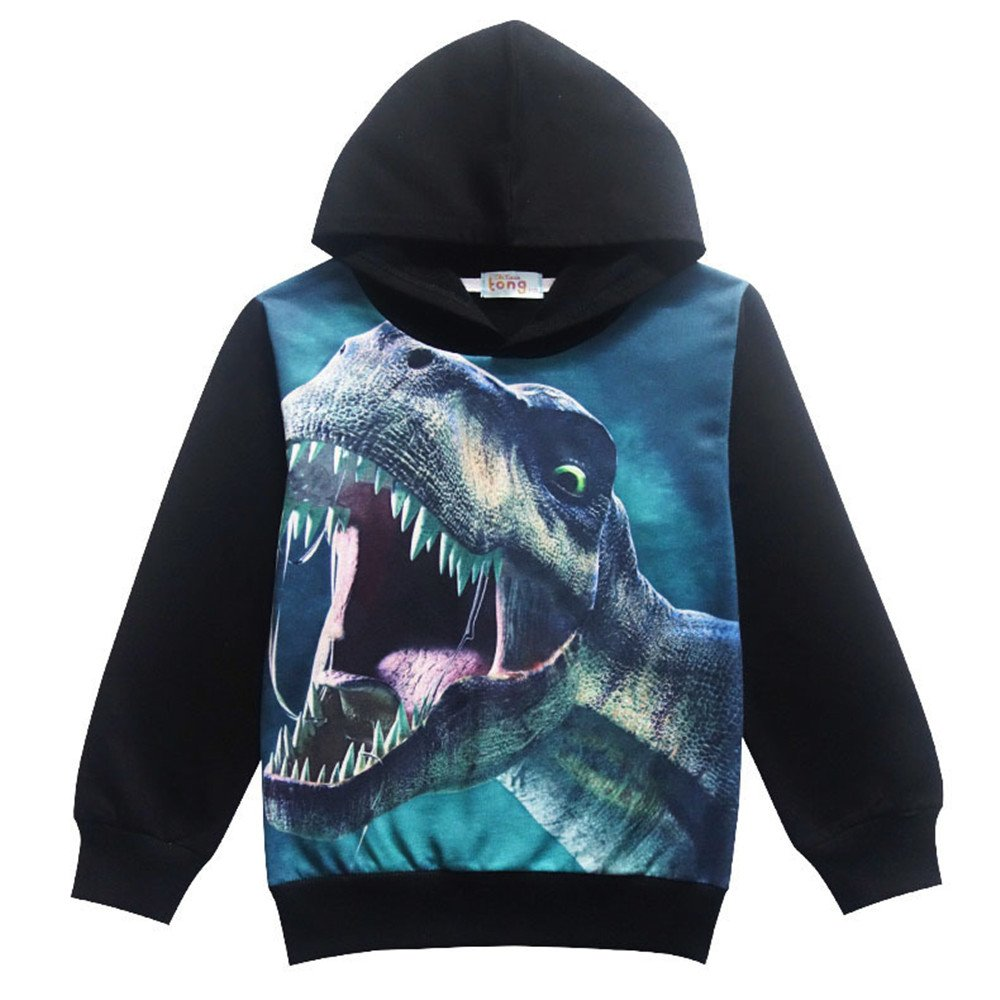 Toddler Boys Hoodies Cartoon Dinosaur Pullover Long Sleeve Sweatshirt Kids 4-8 T