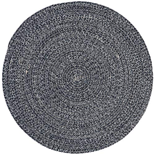 MISC 5ft Braided Circular Rug, Navy Ivory Braid Weave Round Area Rug, Dark Blue Off-White Indoor Carpet Country Farmhouse Theme Circle Floor Mat Bedroom Living Dining Room Kitchen, Hand-Woven Cotton
