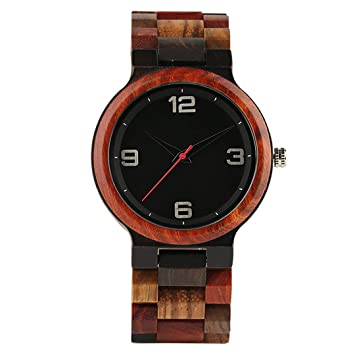 Handmade Red Maple Wooden Watch Men Minimalism Mix Colorful Wood Band Casual Watches Male Gifts Arrival