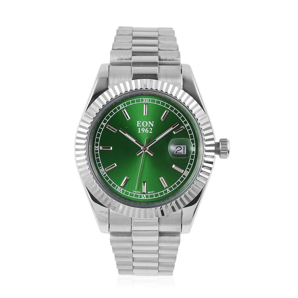 EON 1962 - Reloj de Acero con Esfera de Cristal de Zafiro de 3 ATM, Movimiento Suizo, Color Verde: Amazon.es: Relojes