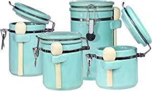 Blue Donuts 4-Piece Canister Sets for Kitchen Counter - Ceramic Airtight Food Storage Containers, Kitchen Canisters with 4 Wooden Spoons, Set of 4-45 Oz, 40 Oz, 33 Oz, 25 Oz, Turquoise