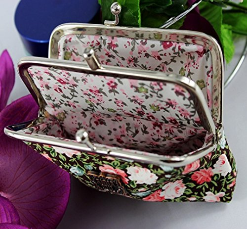 YaJaMa Leinwand Münzbörsen Druckkopf Blume Muster Klein Geldbörsen Geldbeutel Canvas Tasche Damen (Weiß) Rot