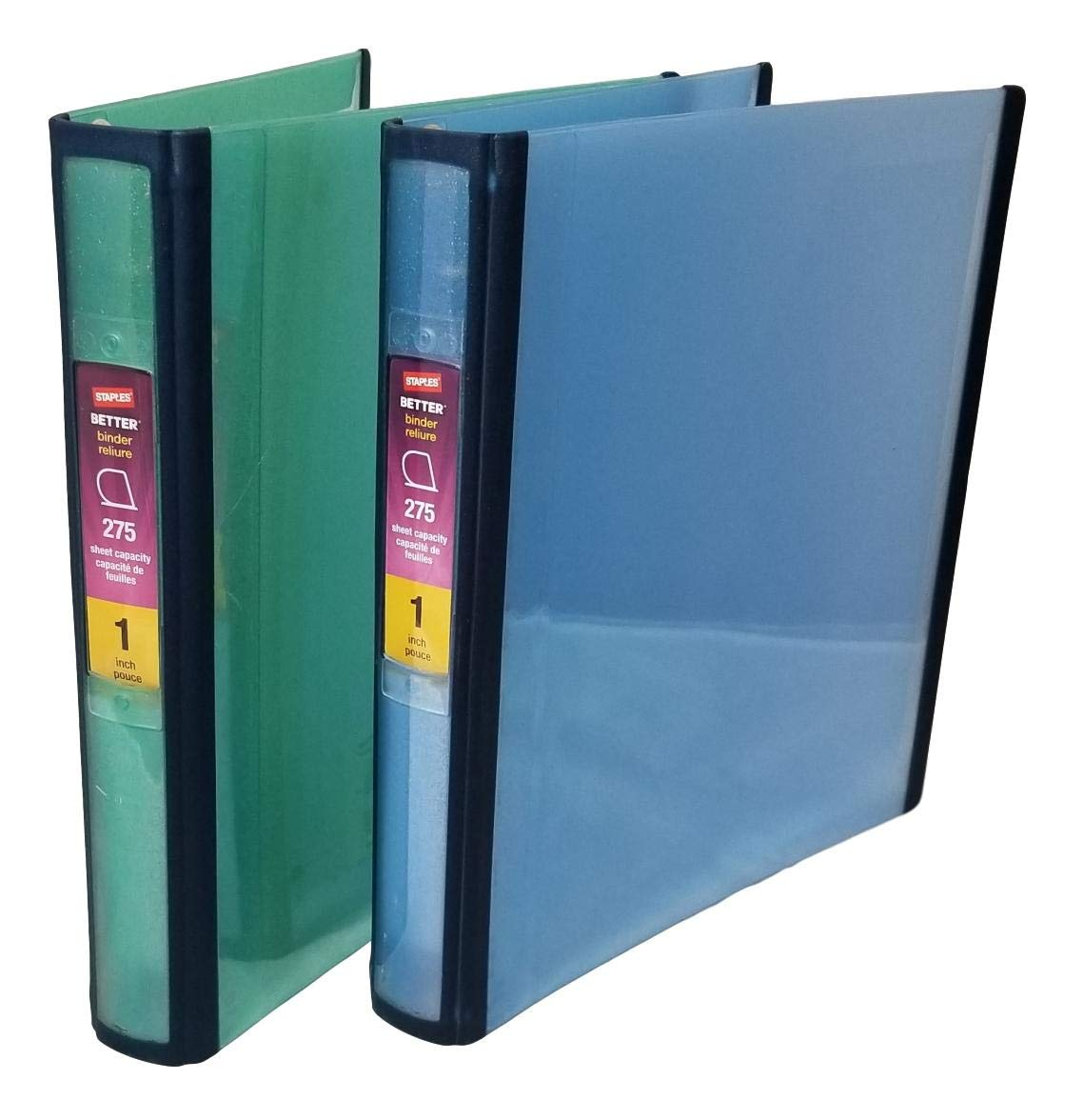 Staples (TM) Glitter Better Binder, 1 Inch, 275 Sheet Capacity, 3 D-Rings, Combo Set of Two, Colors: Blue, Green ((29625) Staples Inc.