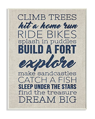 Stupell Home Décor Climb Trees Dream Big Navy with Tan Wall Plaque Art, 10 x 0.5 x 15, Proudly Made in USA