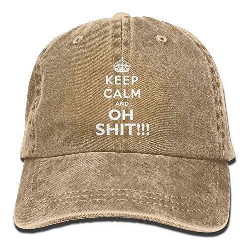 Keep Calm And Oh Shit Adjustable Adult Cowboy Denim Hat Sunscreen Fishing Outdoors Retro Visor -