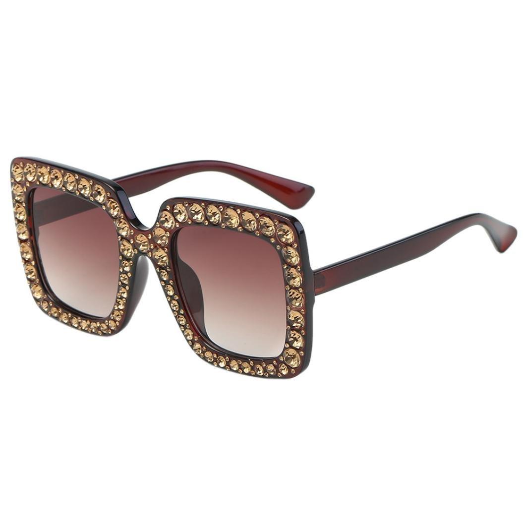 Clearance Bestoppen Women's Sunglasses, Ladies Classic Artificial Diamond Cat Ear Sunglasses Fahion Quadrate Lens Sunglasses Vintage Alloy Goggles Eyewear Sunglass for Women Girls