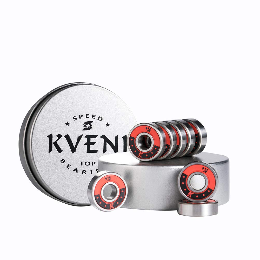 KVENI Premium Skateboard Bearings, 608-2rs Ceramic Ball Bearing - Pro Longboard Bearings for Quad Skate, Inline Rollerblades, Scooters, Spinners, ABEC, 8 Pack (Red)