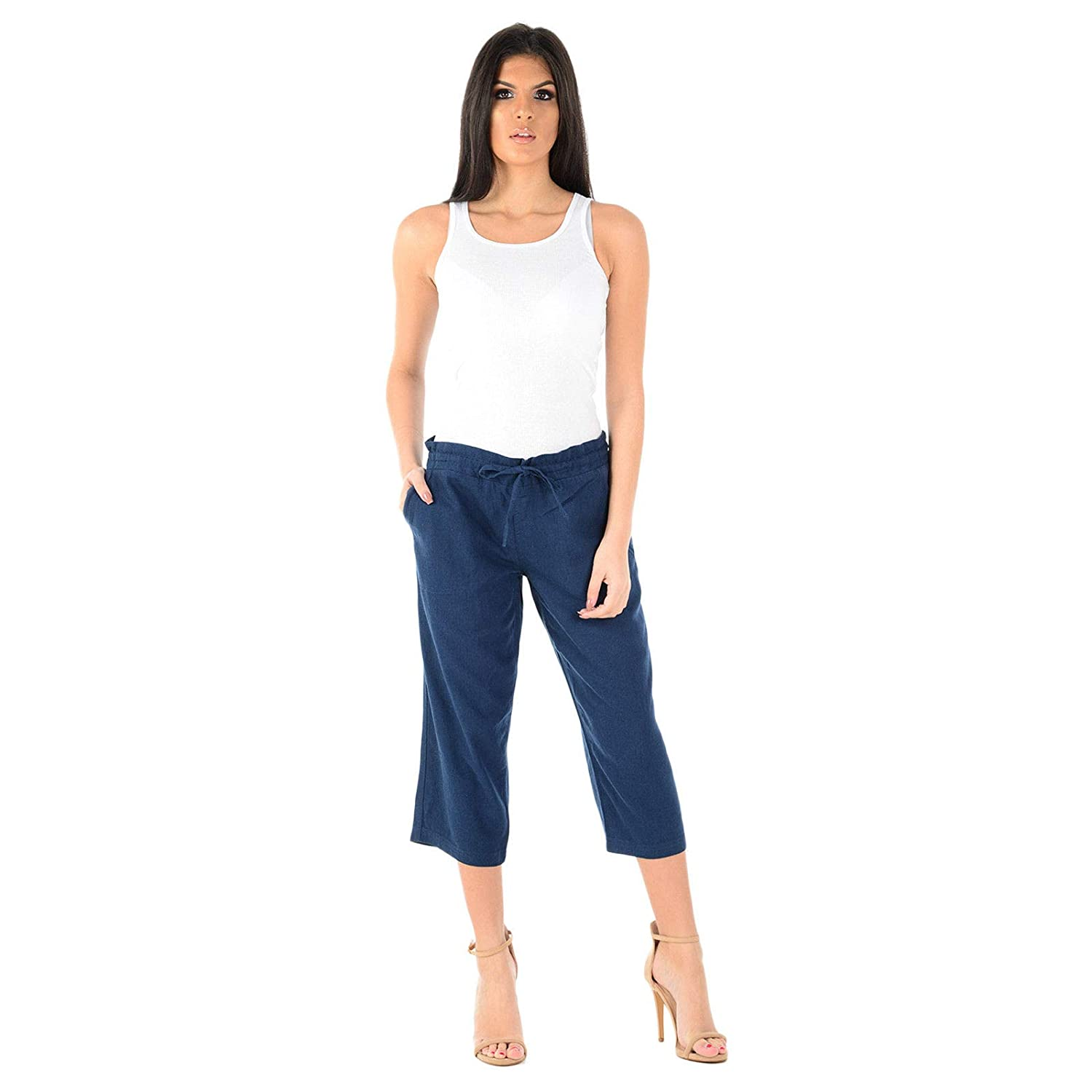 LADIES WOMENS ELASTICATED WAIST THREE QUARTER 3//4 CAPRI CROPPED PANTS TROUSERS
