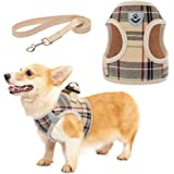 Zonadeals Soft Mesh Plaid Puppy Harness - Small Dog Harness and Leash Set, Adjustable & Comfortable Padded Reflective Vest fo