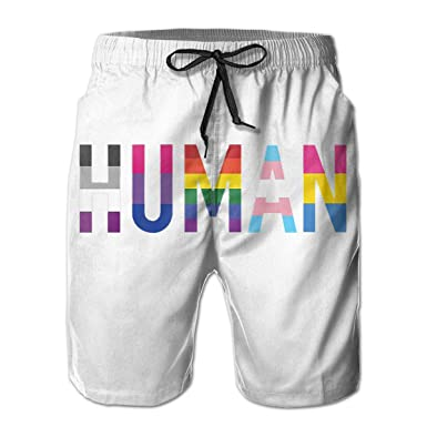 3b980629ce8dd Amazon.com: Men's LGBT Gay Lesbian are Human Swim Trunks Quick Dry Lace Beach  Board Shorts Breathable Beachwear: Clothing