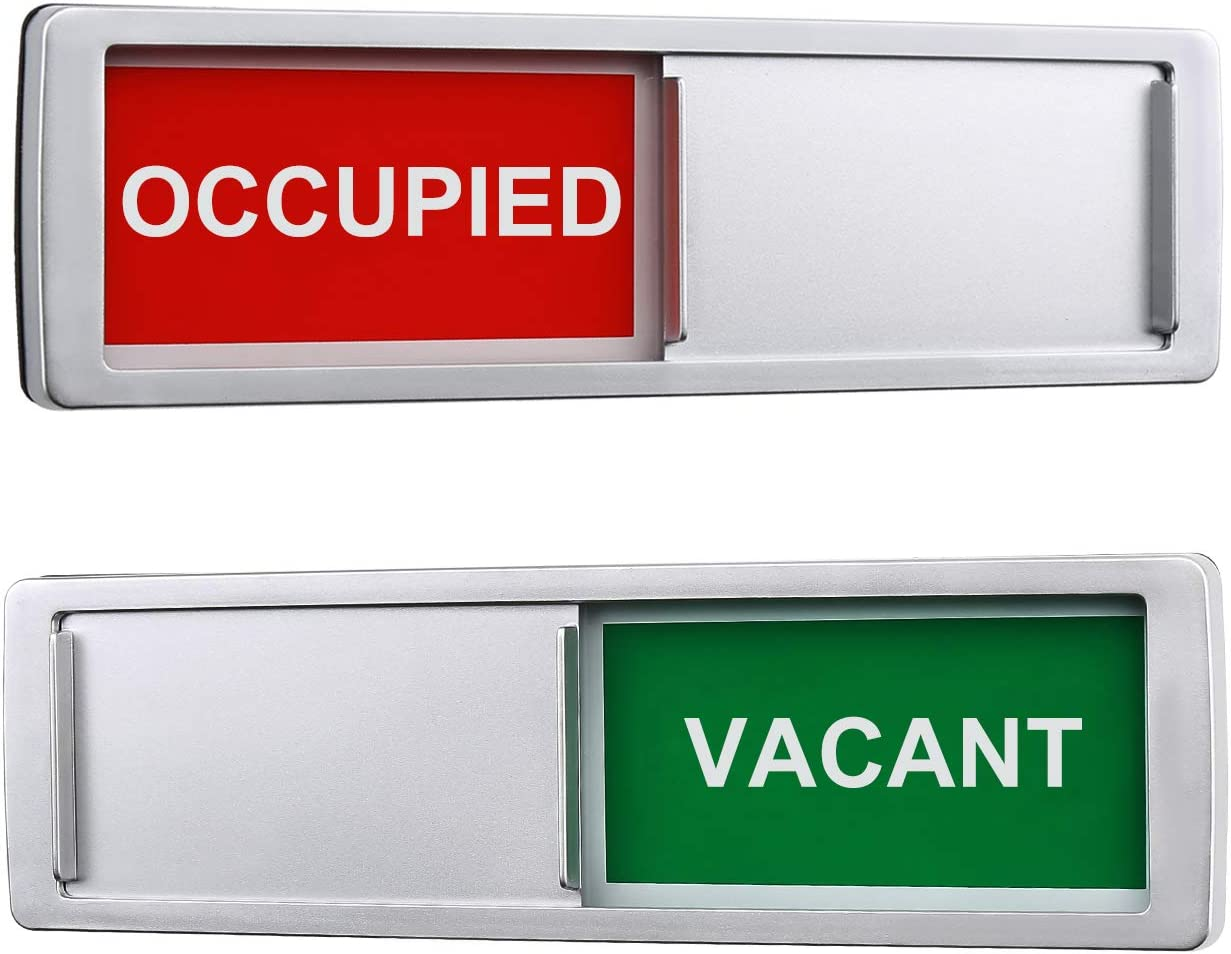 Privacy Sign, Vacant Occupied Sign for Home Office Restroom Conference Hotels Hospital, Slider Door Indicator Tells Whether Room Vacant or Occupied, 7'' x 2'' - Silver