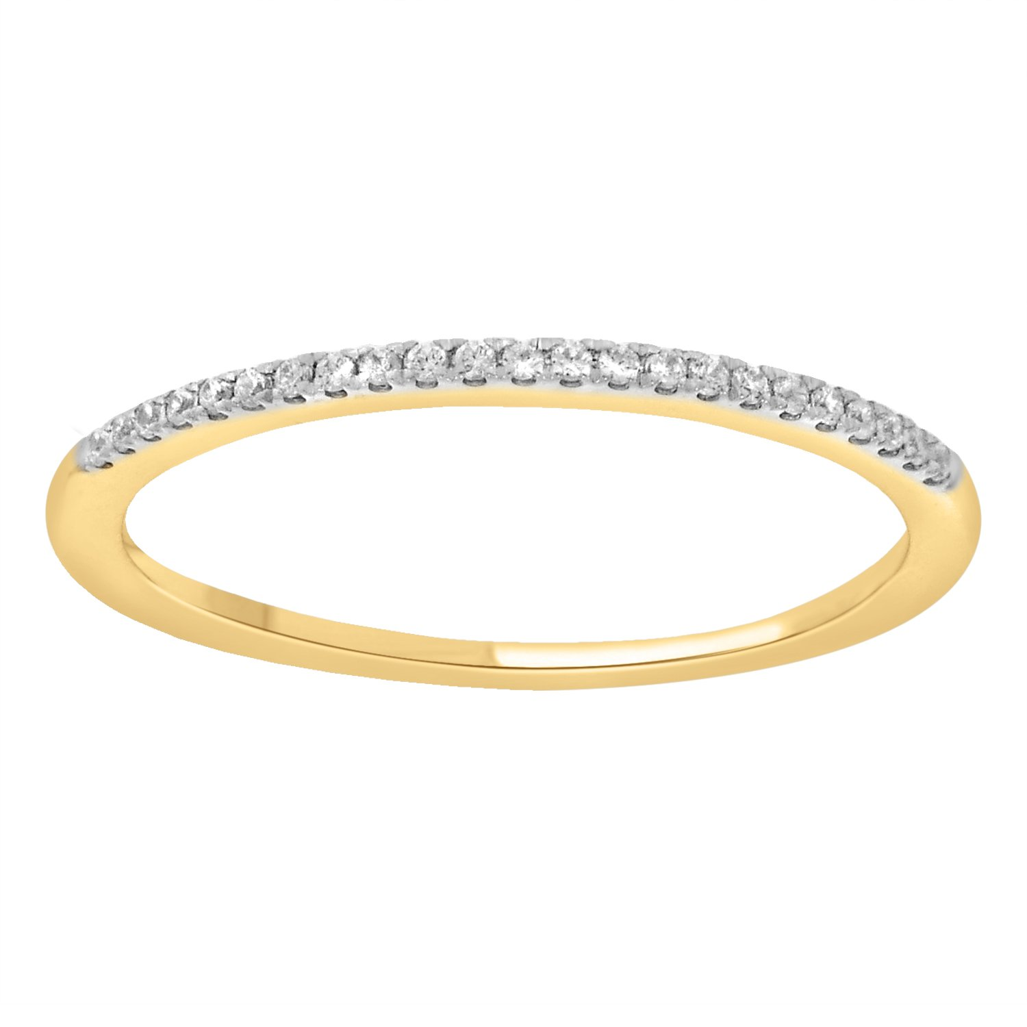 0.08 cttw 14k Gold Round White Diamond Ladies Dainty Anniversary Wedding Band Stackable Ring (yellow-gold, 5.5) by eSparkle