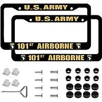 2 PCS US 101st Airborne Division License Plate Frames Black Aluminum 101st Airborne Veteran License Plate Holder License…