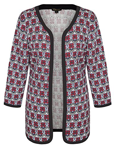 Chicwe Women's Floral Quilted Plus Size Jacket Cardigan Cherry Red 2X