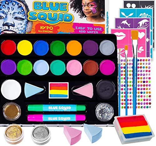 Halloween Face Paints Ideas For Kids (Face Paint Kit for Kids - Jumbo Stencils, 16 Large Paints, Rainbow Cake, 168 Gems, 2 Hair Chalk Pens 3 Professional Brushes 2 Glitter Quality Body Painting Set Halloween Makeup)