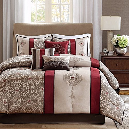 OSD 7pc Burgundy Beige Embroidered Medallion Comforter Cal King California Set, Polyester, Red Brown Striped Adult Bedding Master Bedroom Stylish Jacquard Pieced Pattern Elegant Themed Traditional ()