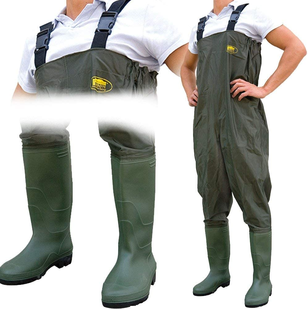 NEW 100/% Waterproof Green PVC Carp Coarse Fly Fishing Chest Waders ALL SIZES