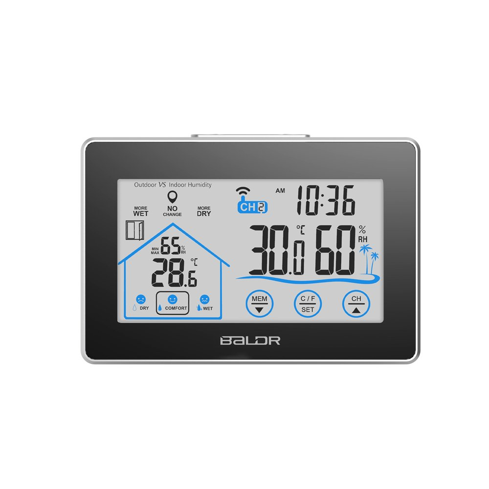 Anself – LCD WIFI Outdoor/Indoor Thermometer Hygrometer, Clock with Level Indicator, Touch Button