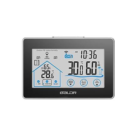 Anself - LCD WIFI Reloj Termómetro Higrómetro de Exterior / Interior, Con Indicador de Nivel