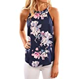 WLLW Women Crew Neck Sleeveless Floral Print Shirt Tops Tee Tanks Camis