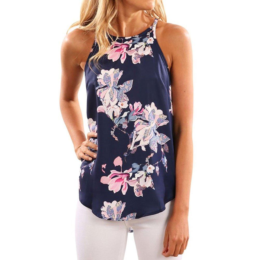 WLLW Women Crew Neck Sleeveless Floral Print Shirt Tops Tee Tanks Camis Small
