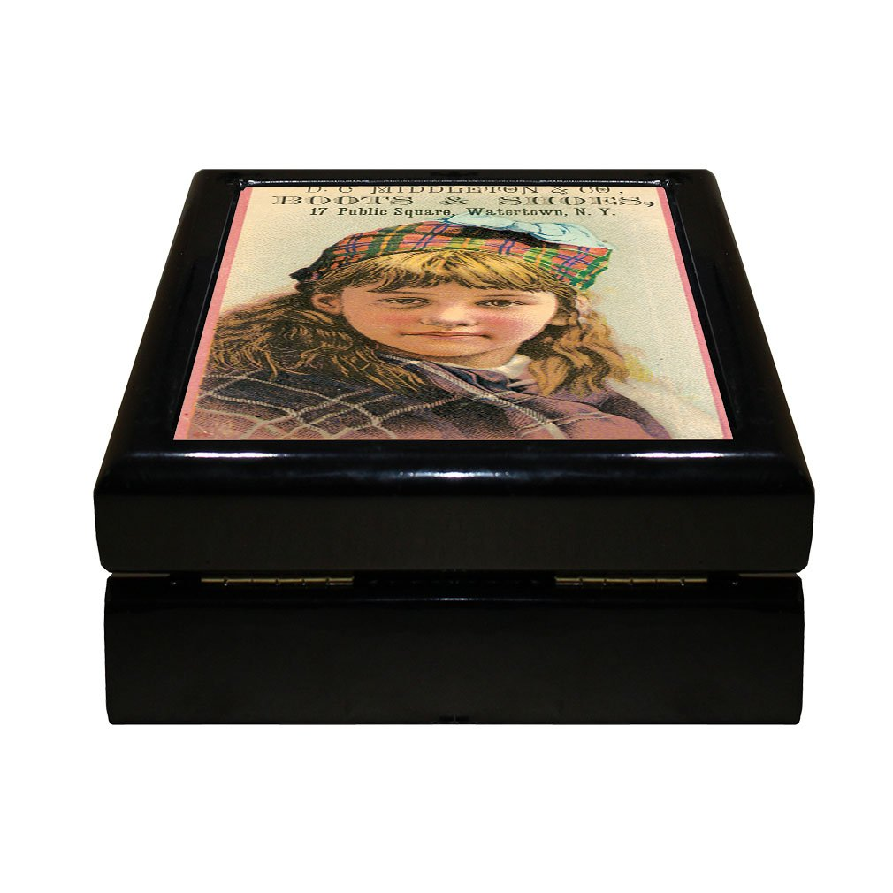 Style in Print Middleton Boots & Shoes Old Poster 4''x4'' Jewelry Box Ceramic Tile Black