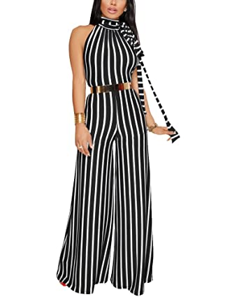 a2715d3a85 Oops Style Women s Palazzo Black White Stripe Bandage Backless Jumpsuit  Outfit Clubwear