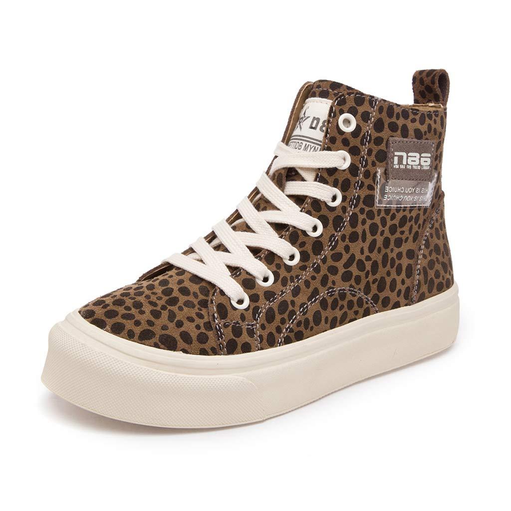 Mode Frauen Lace Up Hohe Schuhe Casual Flache Schuhe Turnschuhe Atmungsaktiv Skateboard Schuhe Braun (Farbe   braun größe   38)