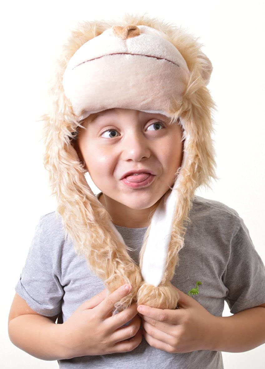 Childrens Warm and Snuggly Furry Animal Hat with Fleece Lining Dog Lion or Monkey Styles