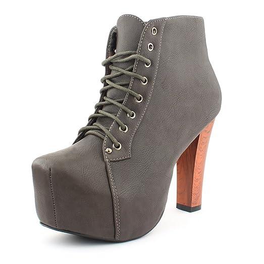 effc836375add5 best-boots Damen ankle Plateau boots Stiefeletten in Grau 1011N Größe 37