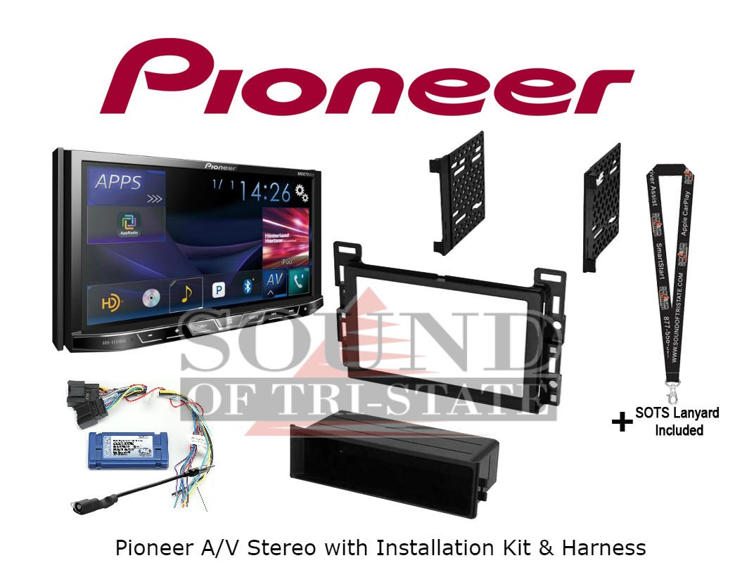Pioneer AVH-X491BHS DVD Receiver with Built in Bluetooth Installation Kit, Harness and Antenna Adapter for Select Chevy, Saturn and Pontiac