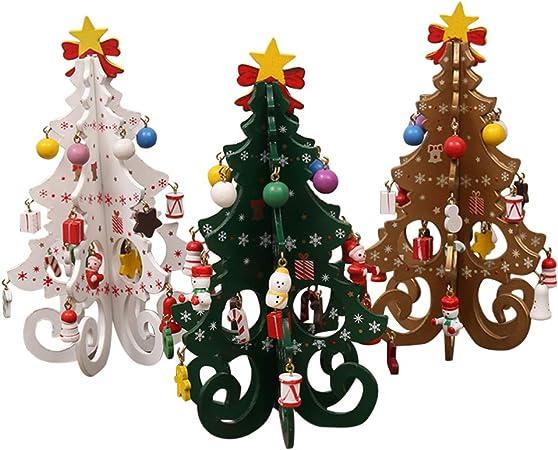 Amosfun - 3 Piezas de Madera para árbol de Navidad, Mesa de Centro ...