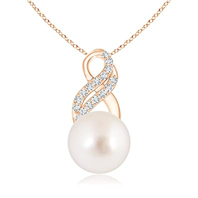 Angara South Sea Cultured Pearl Drop Pendant with Infinity Swirl huR6cAv