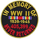 world war 2 patches - in Memory of World War 2 Round Patch - 3x3 inch. Embroidered Iron on Patch
