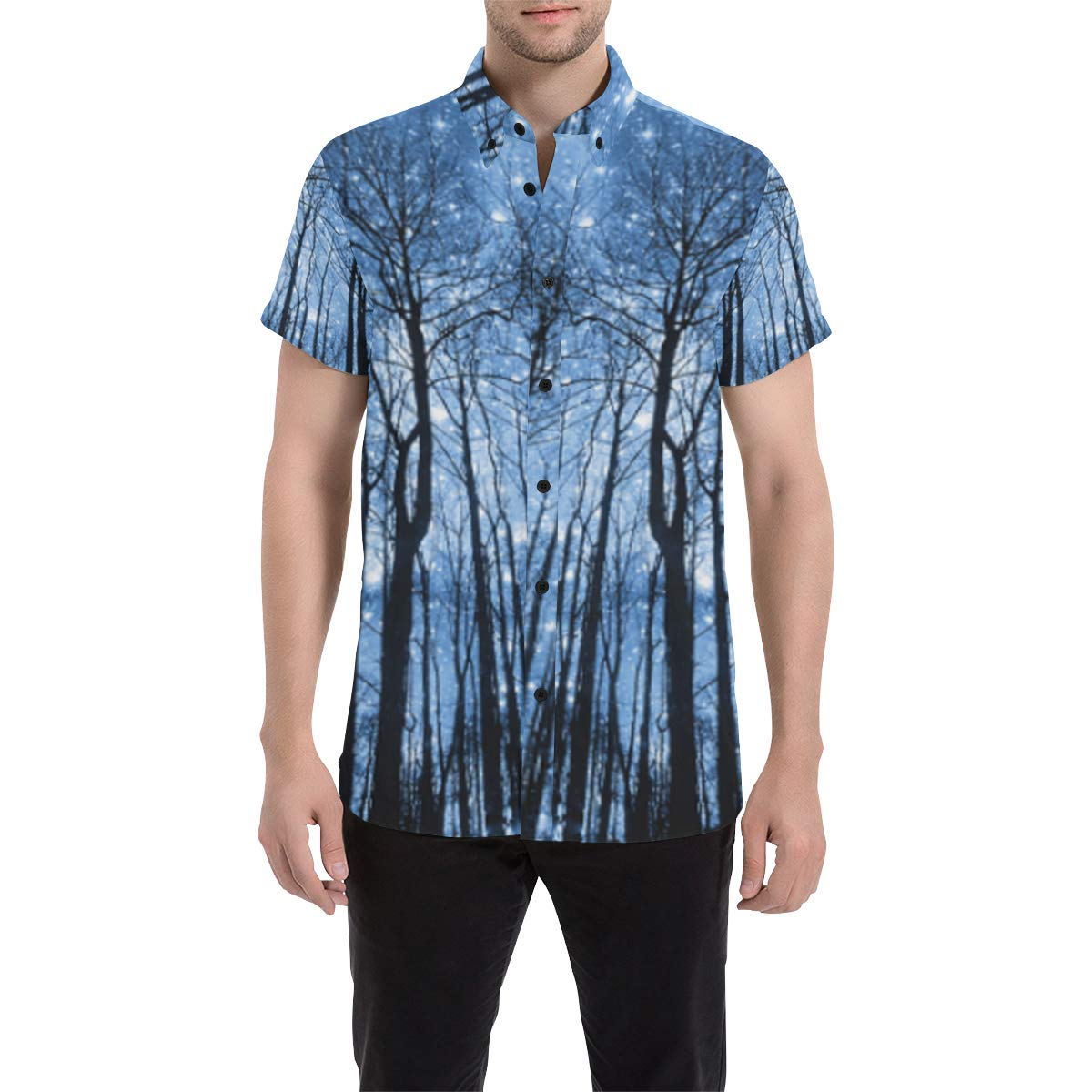 BrowneOLp Starry Forest Mens All Over Print Short Sleeve Shirt//Large Size