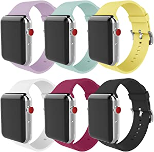 MITERV Compatible with Apple Watch Band 38mm 40mm 42mm 44mm Soft Silicone Replacement Band for Apple Watch Series 6 SE Series 5 Series 4 Series 3 Series 2 Series 1