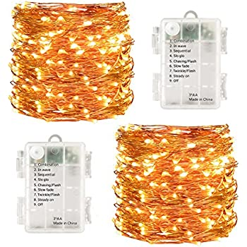 LightsEtc 2 pack 100 LED String Lights 33ft Warm White Decorative Copper Wire Dimmable Fairy Lights