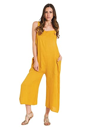 aa4b835c719 Amazon.com  Paris Estyl Ladies Lightweight Loose Fit Linen Overalls -  Mustard One Size Wide Leg Dungaree  Clothing