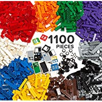 Play Platoon 1100 Piece Building Bricks Kit with Wheels,...