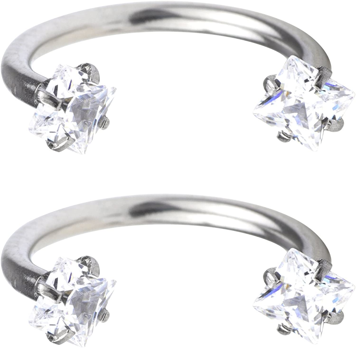 FORYOU FASHION Surgical Steel 16G 3mm Clear Cubic Zirconia Horseshoe Hoop Multi-Functional Captive Ring for Nose Daith Lip Eyebrow Nipple Ear Cartilage Helix Septum 8mm