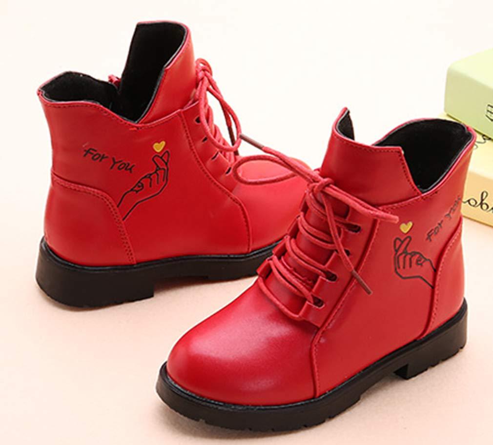 VECJUNIA Girl's Cartoon Ankle Martin Boots Zip Up Shoes School Uniform (Red, 2.5 M US Little Kid) by VECJUNIA (Image #3)