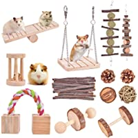 Qukpa Hamster Chew Toys 13 PCS Natural Wooden Pine Small Pet Cage Accessories for Bunny, Guinea Pig, Rat, Chinchilla…