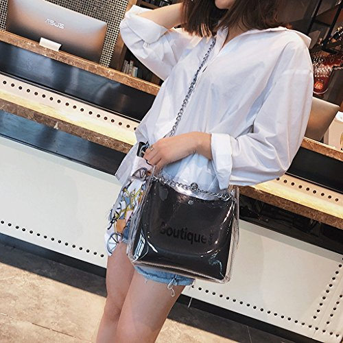 GuoFeng Bolso de Verano, Bolso Transparente Femenino, Nuevo Bolso Diagonal, Bolso de Mujer. (Color : Blanco) Black