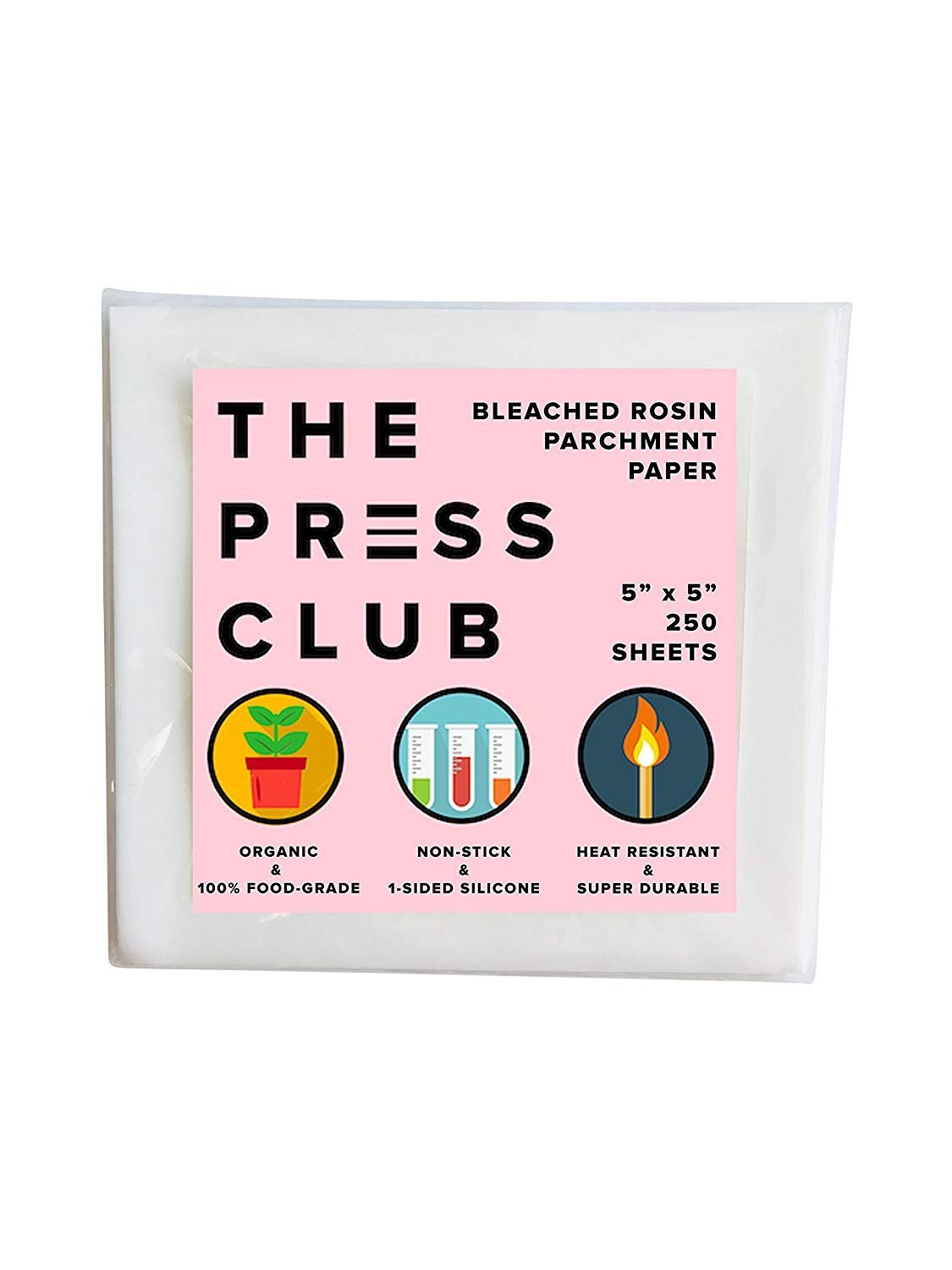 Premium Super Slick Rosin Parchment Paper Squares | 250 Sheets | 5 x 5 | 1-Sided Coating | 100% Food-Grade Silicone | 2X Thicker | Reusable The Press Club
