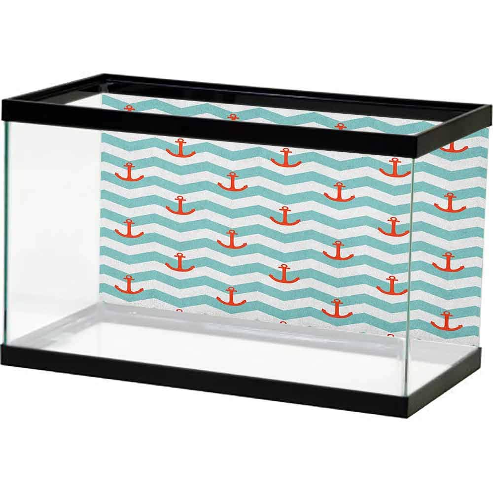 homecoco Fish Tank Background Anchor,Simple Pattern Anchor Stripe Artwork Baby Welcoming Wavy Water Tiled Surface, Red Turquoise Non-Toxic by homecoco