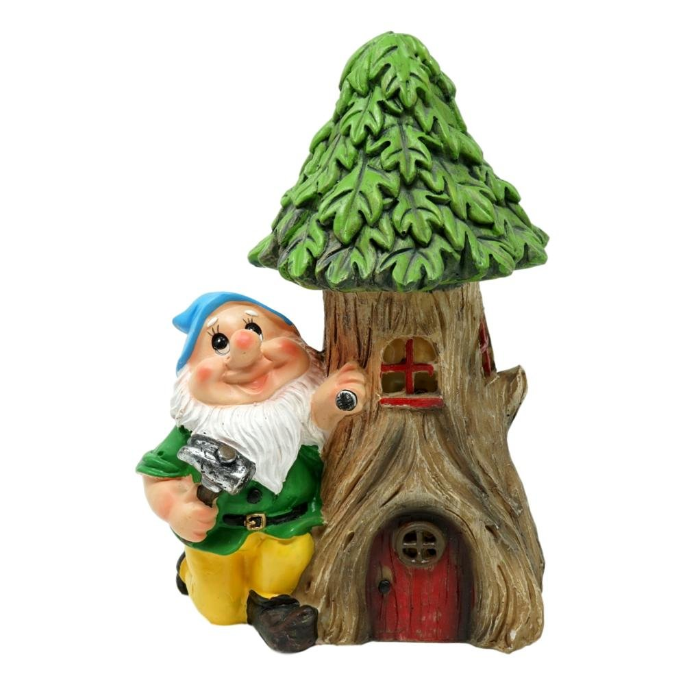 Solar Garden Decor Gnome With Tree Stump Statue, Green