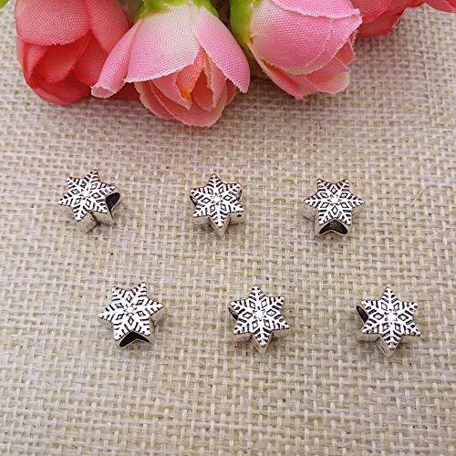 Wholesale 5pcs Pore Size 5mm Tibet Silver Snowflake Large Hole Beads Jewelry 140