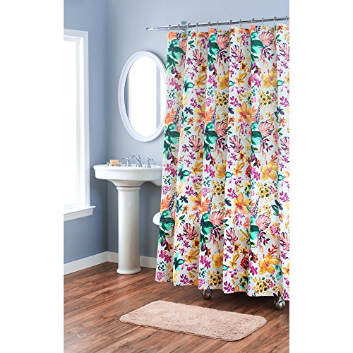 Home Dynamix Nicole Miller Garden Party 100% Cotton Floral Damask Pattern Fabric Shower Curtain, Standard 72